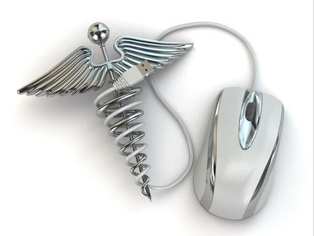 caduceo: Concepto de medicina en línea. Signo y el ratón del caduceo. 3d