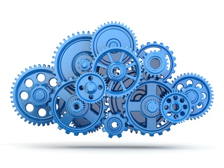 gears background: Cloud computing from gears on white isolated background. 3d Stock Photo