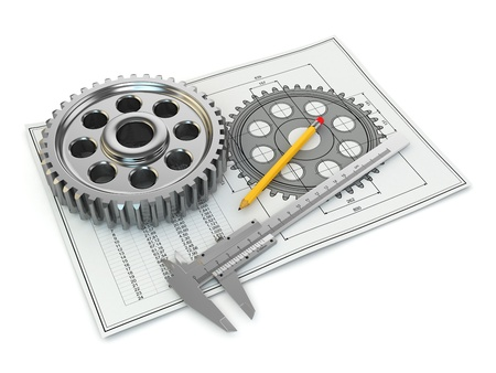 caliper: Engineering drawing. Gear, trammel, pencil and draft. 3d