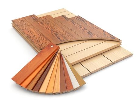 Het installeren van laminaatvloer en hout monsters. 3d Stockfoto