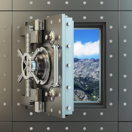 Opening vault door and sky behind it. 3d photo