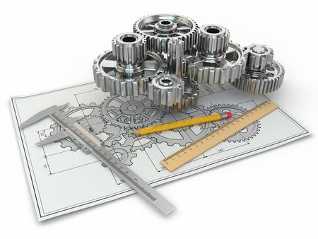Technische tekening. Gear, schakels, potlood en diepgang. 3d Stockfoto