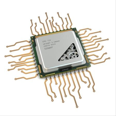 transistor: La CPU. Engranajes dentro del procesador en el fondo blanco aislado. 3d