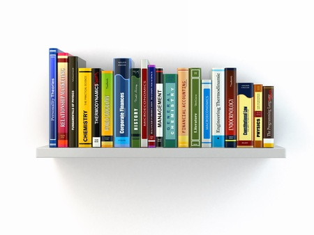 spine: Concept of learning  Books on the shelf  3d