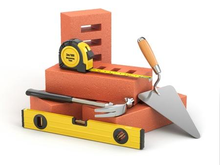 bricklayer: Construction concept  Bricks, trowel, hammer and level