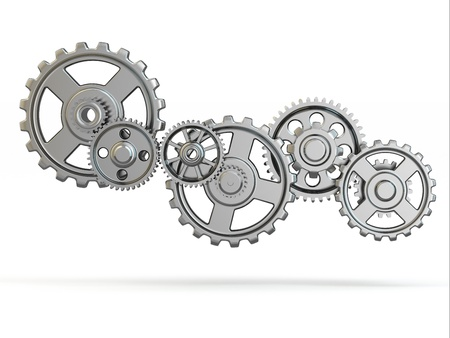 work out: Perpetuum mobile  Iron gears on white isolated background  3d