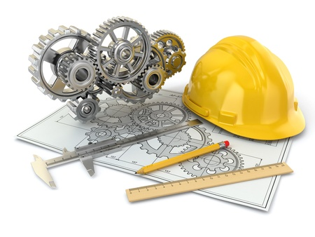 engineering tools: Engineering drawing  Gear, hardhat, pencil and draft  3d Stock Photo