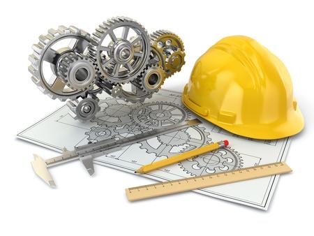 ingeniero: Gear Dibujo t�cnico, casco, l�piz y borrador 3d