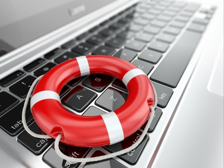 Support  Laptop and life preserver for first help  3d photo