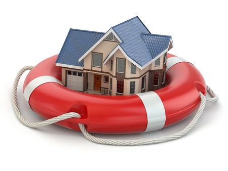 life buoy: House in life belt  Conceptual image  3d