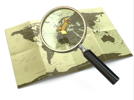 Find locations  Loupe and mapof the world  3d Stock Photo