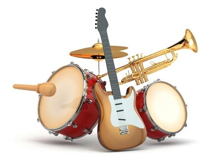 Instrumentos musicales de guitarra, batería y trompeta 3d Foto de archivo - 21995480
