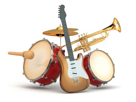 instrumentos musicales: Instrumentos musicales de guitarra, bater�a y trompeta 3d Foto de archivo