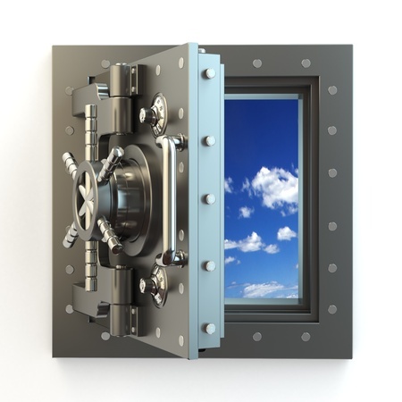 Freedom  Opening vault door and sky behind it  3d photo