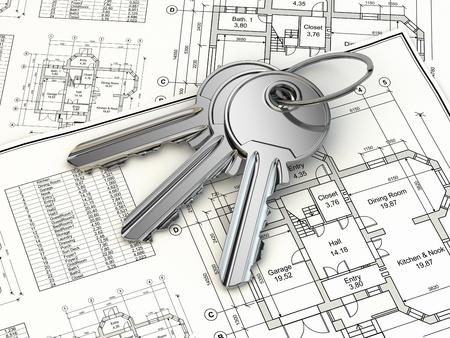 Concept. Key on house plan blueprint. 3d Stock Photo - 22874636