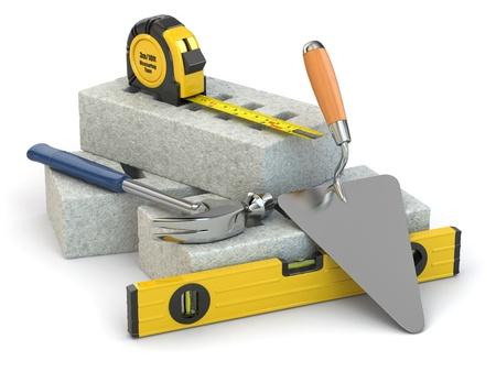 建設のコンセプトです。レンガ、こて、ハンマー、レベル。3 d