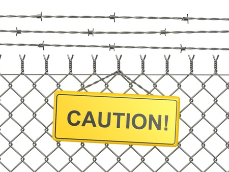 razor wire: Caution. barbed wire fence with sign. 3d