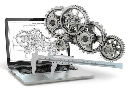 컴퓨터 설계 엔지니어링. 노트북, 기어, 그물 초안. 3 차원