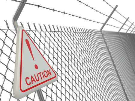 barb wire isolated: Caution. barbed wire fence with sign. 3d