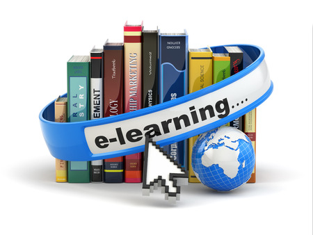learn: E-learning. Books and earth on white background. 3d Stock Photo