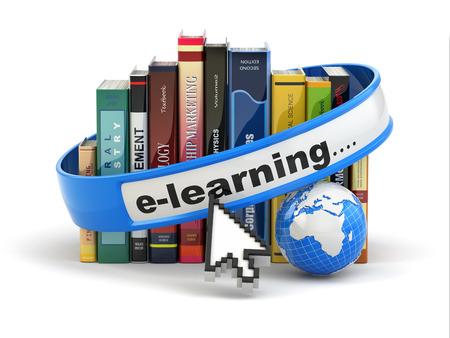 učit se: E-learning. Knihy a země na bílém pozadí. 3d