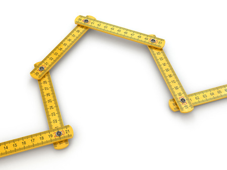 yard stick: House from yard stick on white background .3d Stock Photo