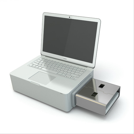 microdrive: USB disk system recovery. Concept image. 3d