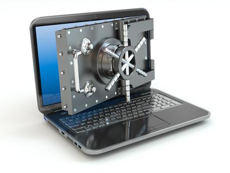 インター ネット セキュリティ。ラップトップと開口部の安全セーフティ ボックスのドア。3 d 写真素材