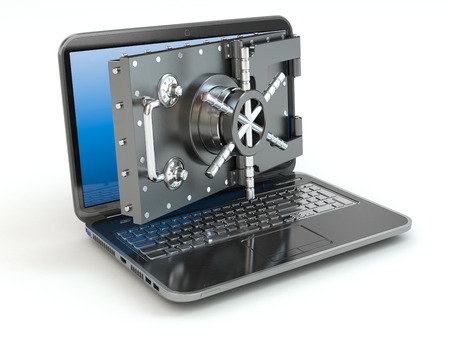 password protection: Internet security.Laptop and opening safe deposit boxs door. 3d