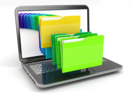 白い背景と分離フォルダー内のノート パソコンとコンピューター ファイル。3 d 写真素材