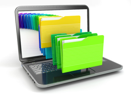 Laptop and computer files  in  folders on white isolated background. 3d 版權商用圖片