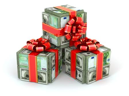 お金のギフト。ドルとユーロと赤いリボンのパック。3 d 写真素材
