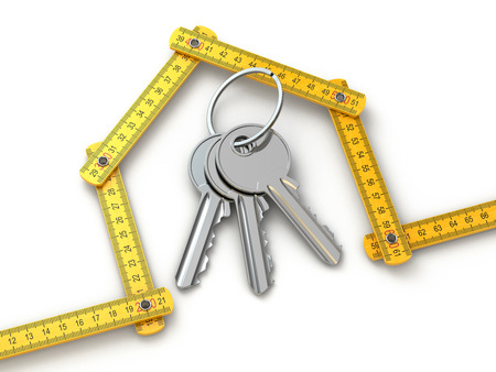 yardstick: House from yardstick and bunch of keys.  3d Stock Photo