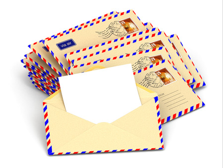 junk mail: Mail. Stack of envelopes and empty letters. 3d Stock Photo
