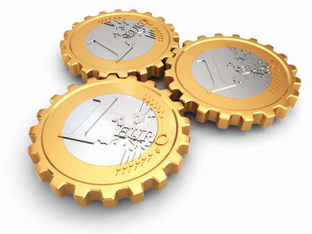 Euro coins as gear. Financial concept. 3d photo