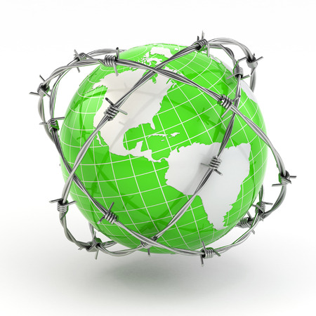 barb wire isolated: Earth and barbed wire. Conceptual image. 3d
