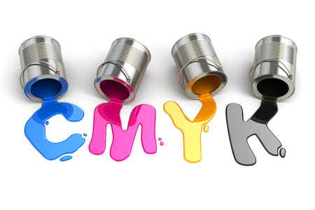 gallon: Spilled CMYK paint on white isolated background. 3d