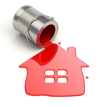 spilt: Spilt paint and house symbol. Paintig your home. 3d