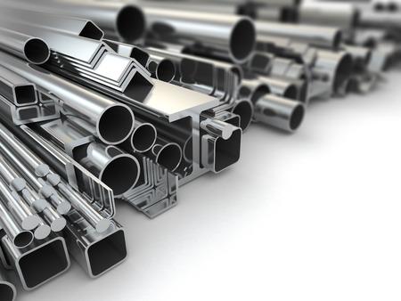 tuberias de agua: El perfil de metal y tubos en el fondo blanco. 3d