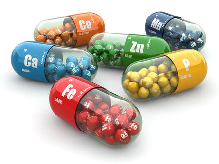 vitamina: Los suplementos diet�ticos. Pastillas Variedades. C�psulas de vitamina. 3d
