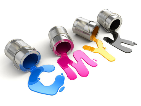 spilled paint: Spilled CMYK paint on white isolated background. 3d