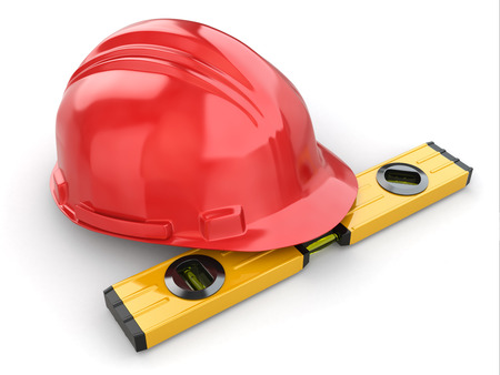 construction work: Construction concept. Hardhat and carpenters level. 3d