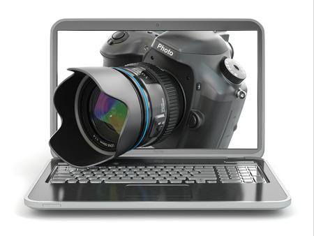 editing: Digital photo camera and laptop. Journalist  or  traveler equipment. 3d Stock Photo