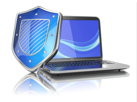 Internet security concept. Laptop and shield. 3d