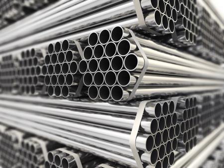 金属パイプ。鉄鋼業界の背景。三次元画像