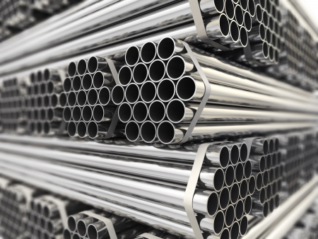 Metal pipes. Steel industry background. Three-dimensional image,