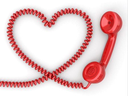 Phone reciever and cord as heart. Love hotline concept. 3d photo