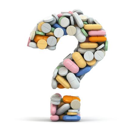 medicina: P�ldoras como interrogaci�n sobre fondo blanco aislado. Concepto m�dico. 3d
