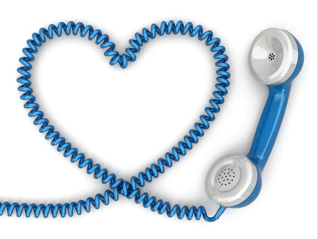 telephone cable: Phone reciever and cord as heart. Love hotline concept. 3d Stock Photo