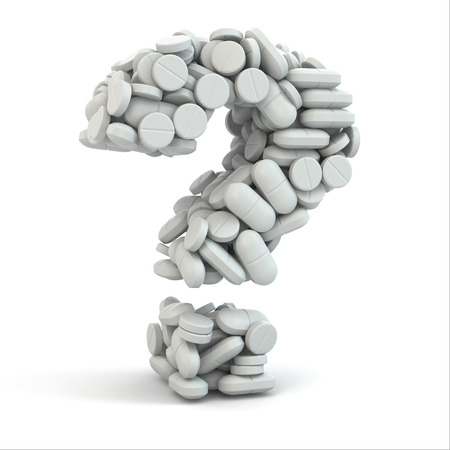 allergy questions: Pills as question on white isolated background. Medical concept. 3d